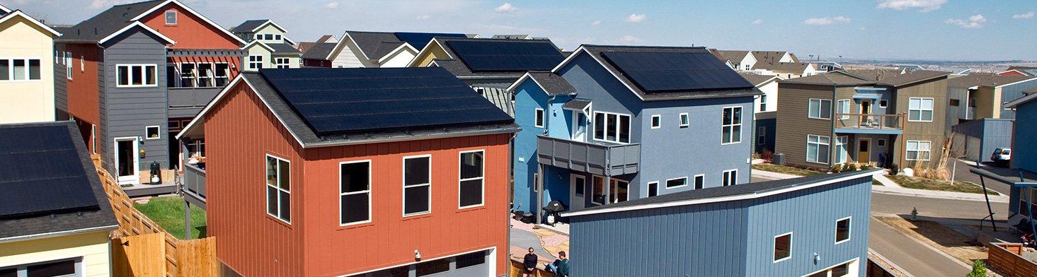 solar panels in a neighborhood