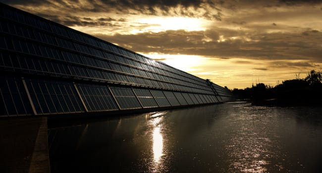 solar panels and water