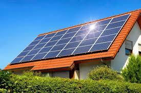 Solar panels with the sun